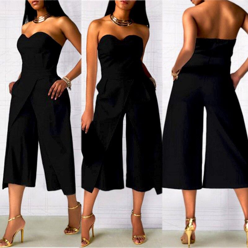 Women Office Ladies Clubwear Off Shoulder Bodycon Jumpsuit Wide Legs Pants Elegant Work Playsuit Party Basic Rompers