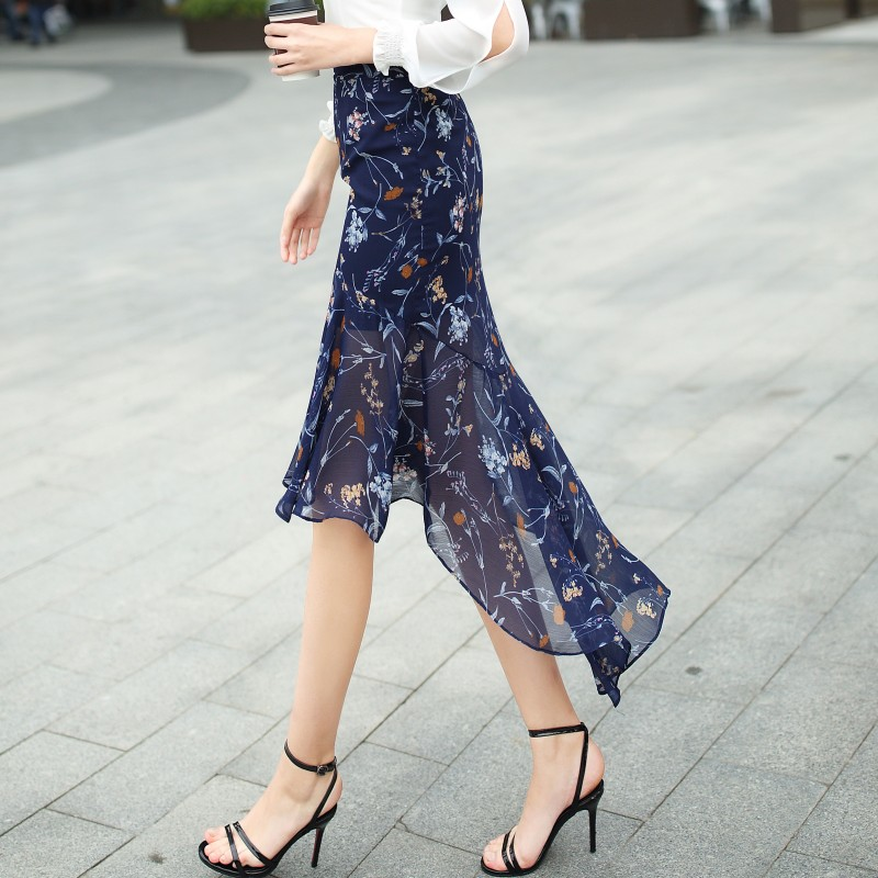 Skirt Women Chiffon Sexy Ethereal Mermaid Fishtail Print Trumpet Summer Skirt Casual Elegant Style 2017 Fashion