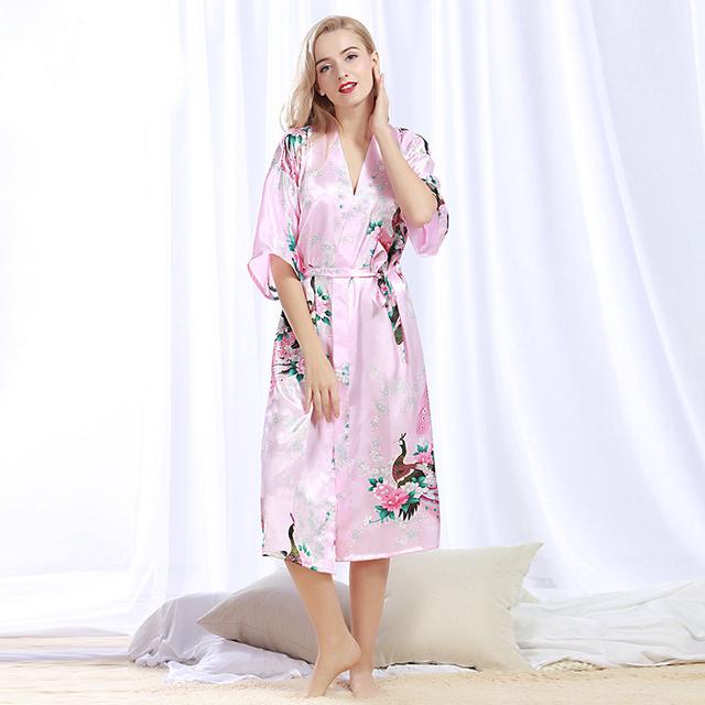 NORA TWIPS 2017 Novas Mulheres Chegada de Moda de Luxo de Seda Roupão De Seda de Cetim Vestidos de Noiva Do Casamento Da Dama de honra Vestir Túnica para As Mulheres