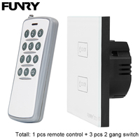 3 Pcs EU Standard ST2 2 Gang Smart Switch 1 Pcs Remote Control RF433MHz Remote Control