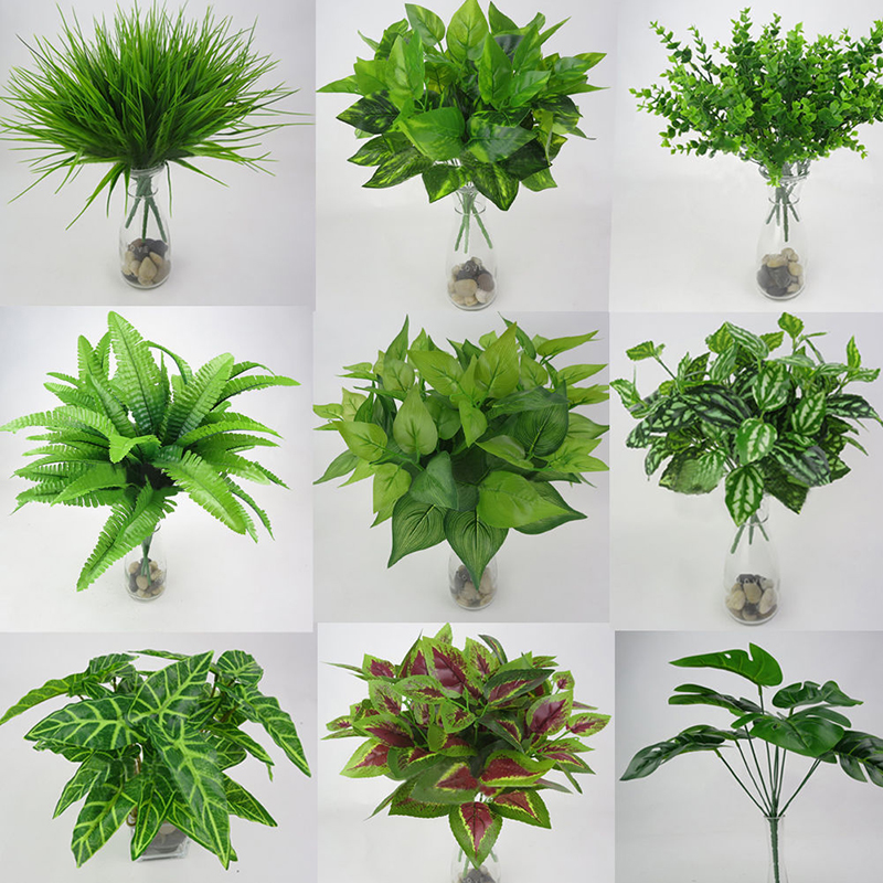 1pc Artificial Plant Flower with Leaf Plastic Green Grass Tree Plant Fake Leaf Foliage Bush for Home Wedding Hotel Party Decor-in Artificial & Dried Flowers from Home & Garden