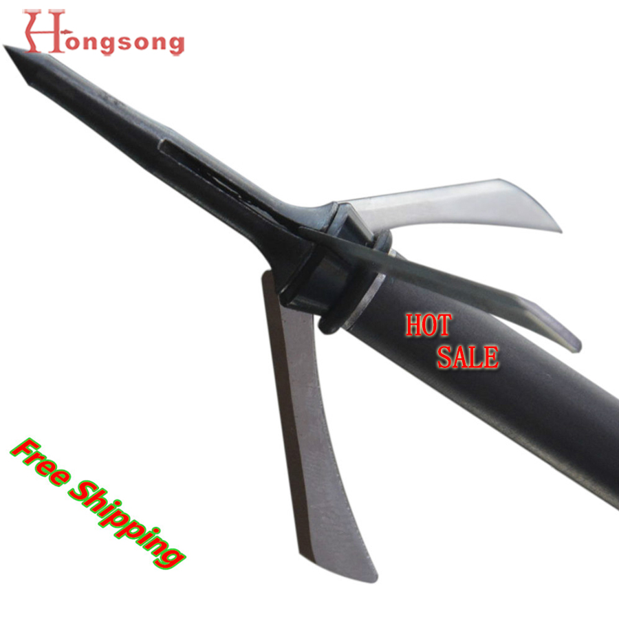 "6 stks Hot koop !!! 2 ""gesneden Mechanical Hunting Broadhead, 3Blades Points, 100gr Bow en Crossbow Arrowhead"