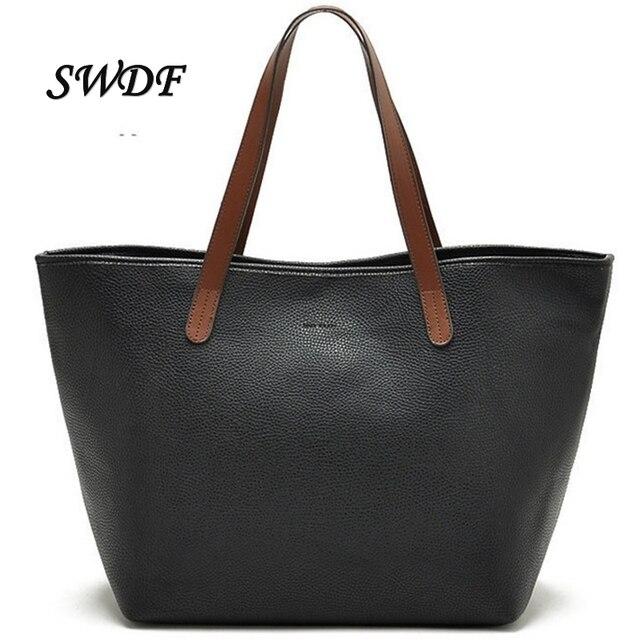SWDF 2016 Women Four Seasons General Luxury Handbags Designer PU Leather Bags Famous New Brands Large Capacity Lady's Handbags