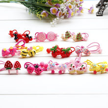 Cartoon Hair children Princess Kitty Butterfly cake Headwear Girl Hair Rope Hearts Hair Accessories Rubber bands(China)
