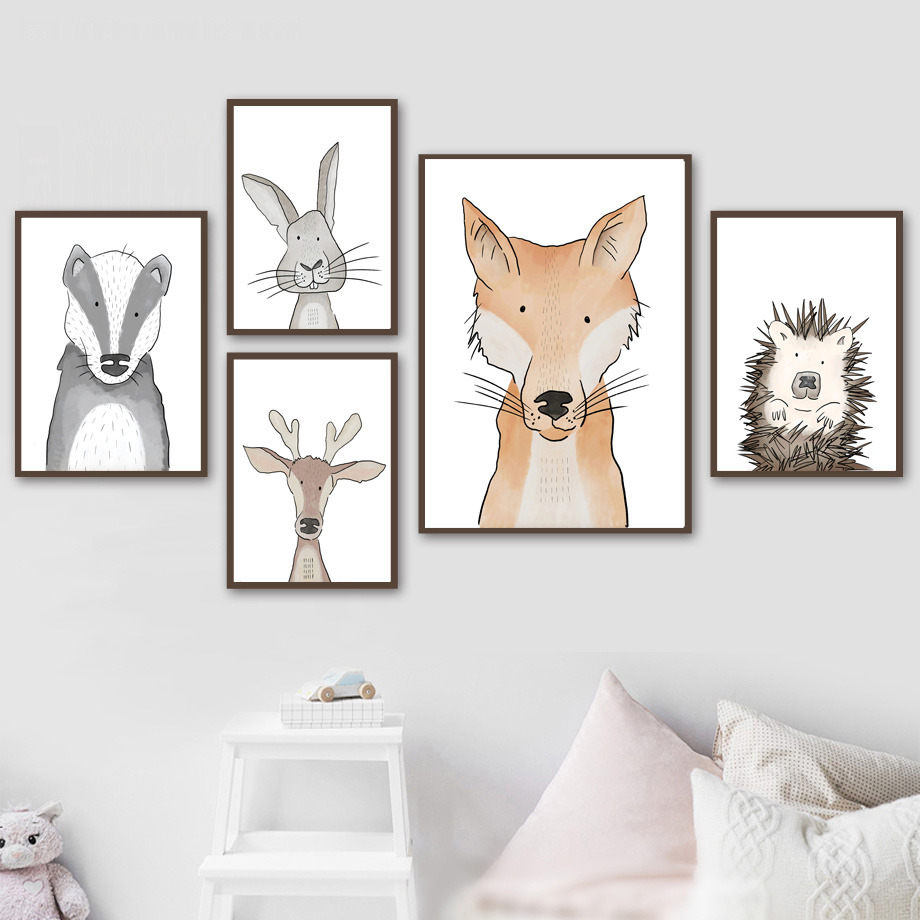 Watercolor Rabbit Hedgehog Fox Deer Owl  Wall Art Canvas Painting Nordic Posters And Prints Pictures Baby Kids Room Decor