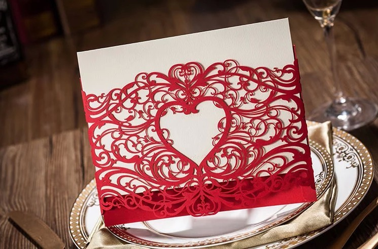 Red Laser Cut Wedding Invitations 2015 Heart Party Invitations Cards Convites De Casamento with Envelope Seal aliexpress com buy red laser cut wedding invitations 2015 heart,Laser Cut Party Invitations