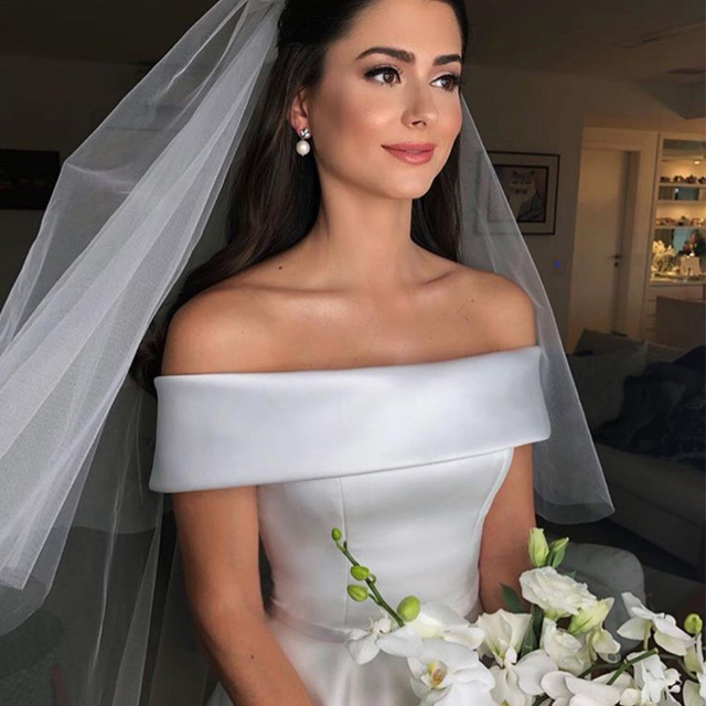 Simple A Line Wedding Dresses Satin Off The Shoulder Wedding Bridal Gowns Sweep Train Casual Dresses Zipper With Buttons Back 5