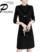 Fleece Plus Size Lace Stitching Warm Jumper Dress Womens Ladies Winter Fashion Long Sleeve Stand A Line Loose Tunic