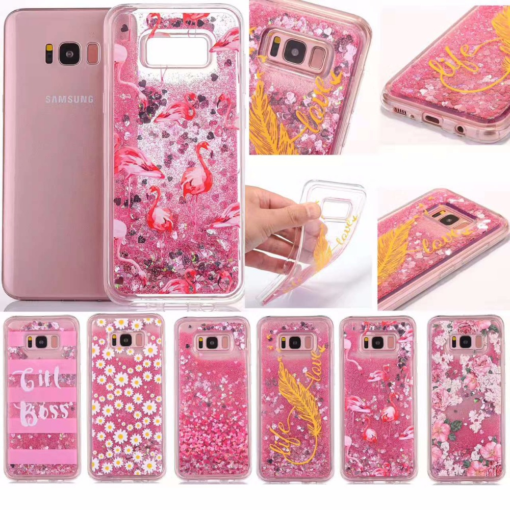 Glitter Dynamic Liquid Quicksand Case Cover For samsung galaxy s8 s8 plus Flamingo chrysanthemum feathers Case soft cover