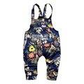 2016 nueva Primavera Encantadora impresión de la manera 1 unidades guardapolvos de los niños 0-2 año del bebé pantalones del bebé pantalones de la muchacha