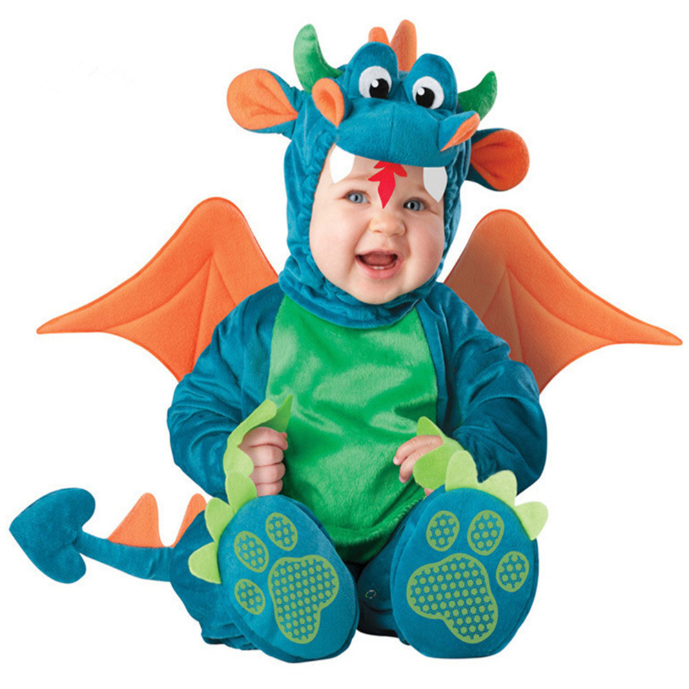Halloween Baby Boys Girls Costume Infant Dinosaur Animal Onesie Newborn Toddlers Clothes Cute Babygrow Fancy Dress Outfits newborn baby photography props infant knit crochet costume peacock photo prop costume headband hat clothes set baby shower gift