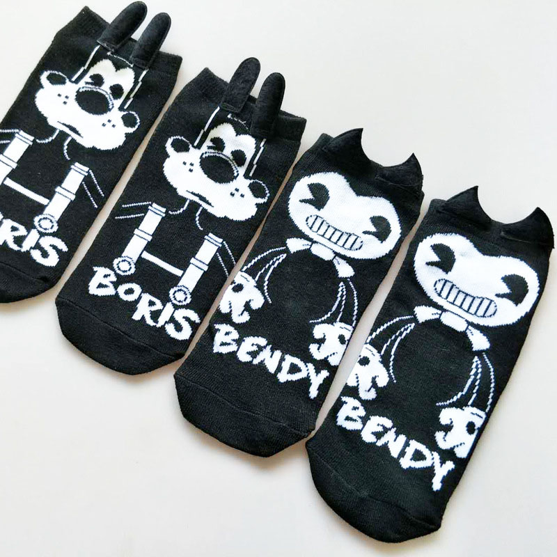 Cute Cartoon Hand-stitched Ear Ladies Boat Socks Personality Couple Socks BORIS BENDY