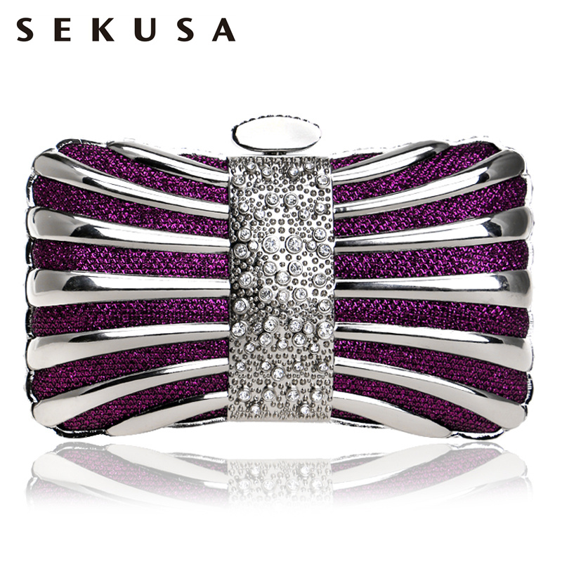 SEKUSA Luxurious Women Evening Clutches Bags Diamonds Wedding Party Handbags Chain Shoulder Lady Purse стоимость