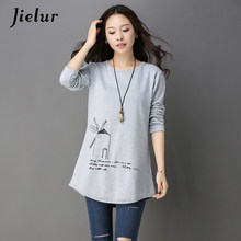 Jielur Spring New Printed Black Gray Women T-shirt Loose Casual Simple O-neck Lady Top Long Sleeve Slim Oversize T shirts M-4XL(China)