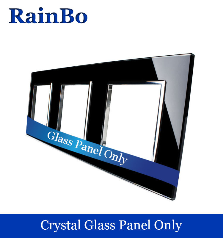 RainBo Free shipping Luxury Triple Crystal Glass Panel 3Frame 222mm*80mm EU Standard  Black Wall Socket DIY Accessories A3888B1 free shipping car refitting dvd frame dvd panel dash kit fascia radio frame audio frame for 2012 kia k3 2din chinese ca1016