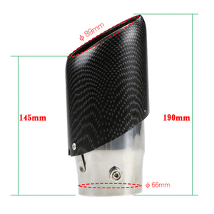 Image 5 - 1pc Universal Car Carbon fiber striped Exhaust Pipe Muffler tail throat Stainless Steel 66mm inlet
