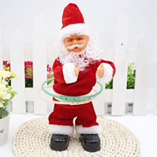 Electric Singing Dancing Santa Claus Hula Hoop Dancer Activated Toy for childrens christmas gift