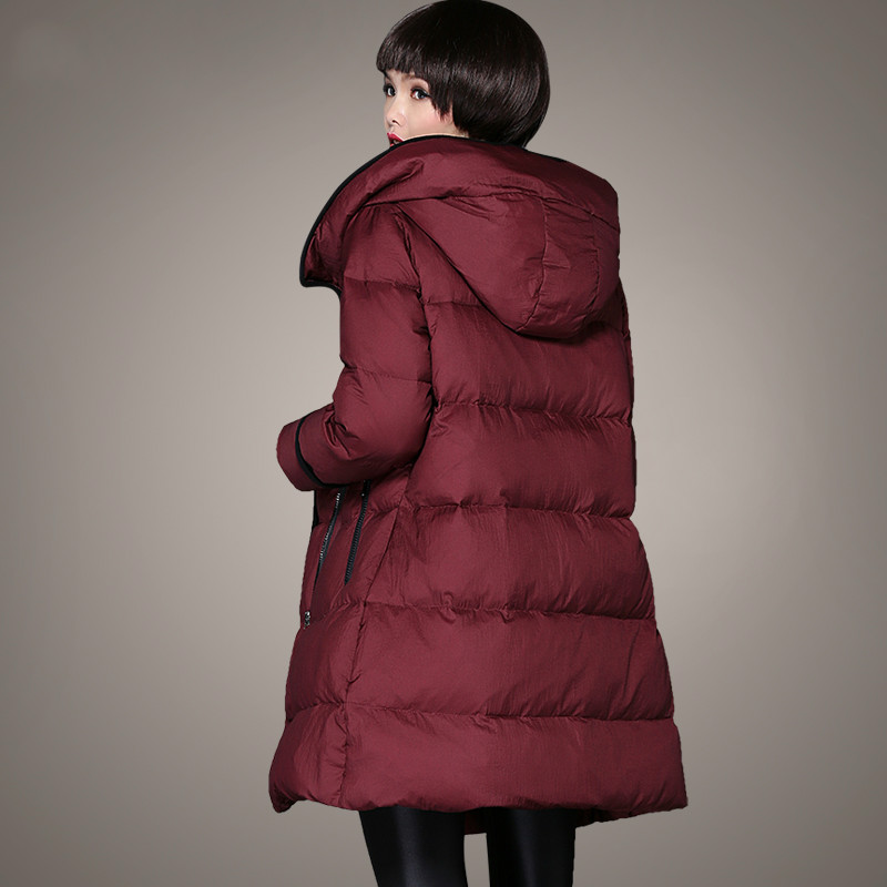 Plus Size M~5XL Winter Women Parka Hooded Middle Long Duck Down Jackets Thickening Feminine Red Wine Color Loose Big Size Coats