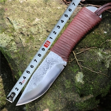Free Fast Shipping Outdoor camping knife Handmade Forged 9Cr18Mov Blade Cowhide  Handle Hunting Hunter Knife