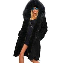 Roiii 2018 Parka larga Mujer Negro Grande piel sintética forro abrigo  capucha negro grueso Outwear Casual chaqueta de invierno m. 11104074a5d5