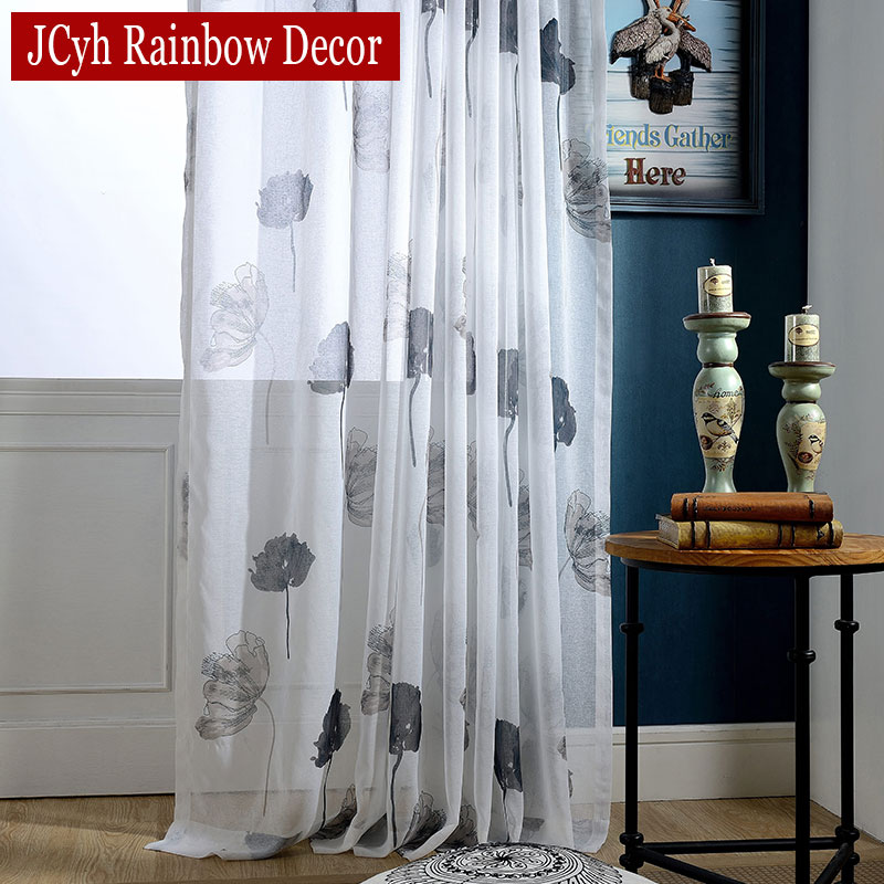 Jcyh Modern Ink Lotus Foral Tulle Curtains For Living Room Window Drapes White Sheer Voile Curtains Organza Bedroom Curtains