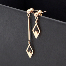 2018 Fashion Stainless Steel Love Hollow Geometric Rhombus Asymmetry Drop Earrings Rose Gold Color Women Party Wedding Gift