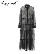 Vintage Stylish Mesh Polka Dot Midi Dress Women 2019 Fashion Shirt Collar Long Sleeve See Through Dresses Casual Vestidos Mujer