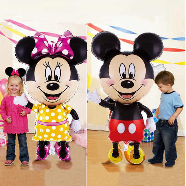 1pc 110cm Giant Mickey Minnie Foil บอลลูนสีแดงสีดำยืนเด็กทารกเด็กผู้หญิงวันเกิด Party ตกแต่ง globos