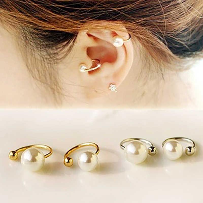 ROMAD פשוט אופנה שרוול אוזן Brincos אוזן קליפ פרל עגילים לנשים הצהרת אוזן עגילי תכשיטי מתנה סיטונאי R5