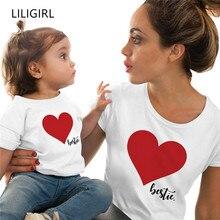 LILIGIRL/ г. Новая Одинаковая одежда для семьи летняя футболка с короткими рукавами и принтом «любовь» для мамы и дочки одежда для мамы и меня