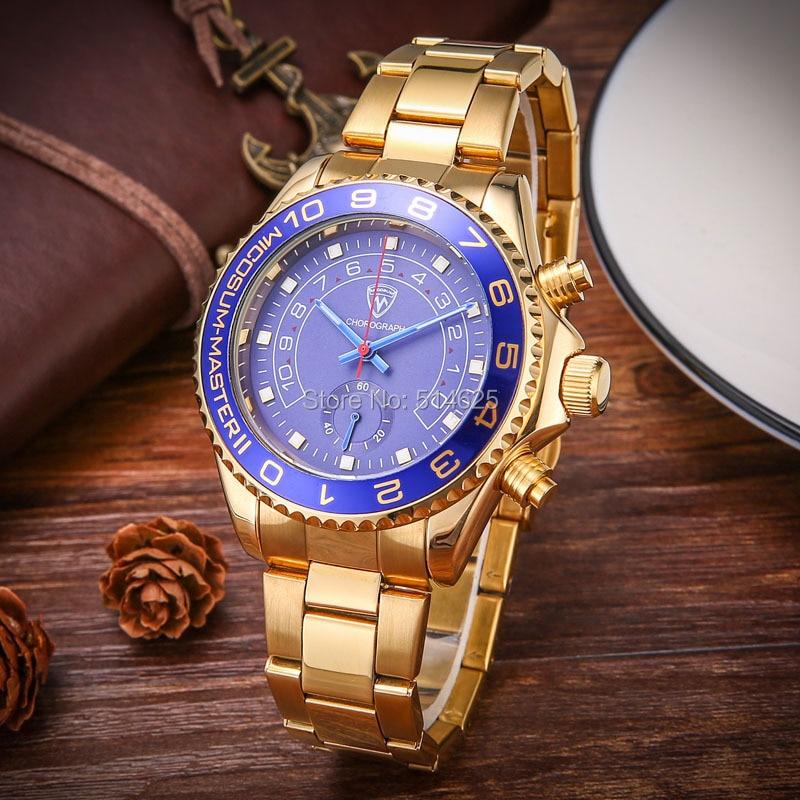 relogio masculino Watch Men Luxury Brand Gold Watch Men Dress Chronograph Quartz Wristwatch Waterproof Stainless Steel Watch