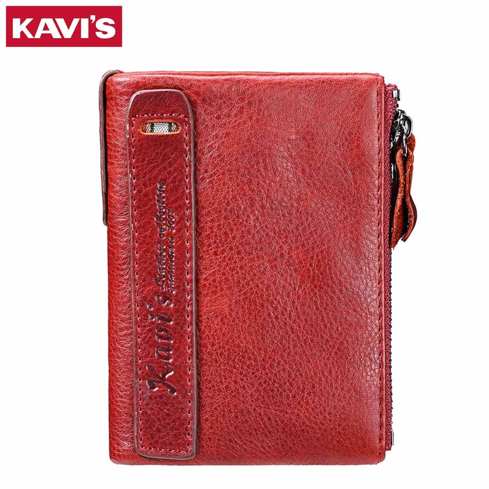 KAVIS 2017 Fashion Small Wallet Female Coin Purse Genuine Leather Women Wallet Mini Portomonee Lady Luxury Brand Rfid Red Walet kavis genuine leather long wallet men coin purse male clutch walet portomonee rfid portfolio fashion money bag handy and perse