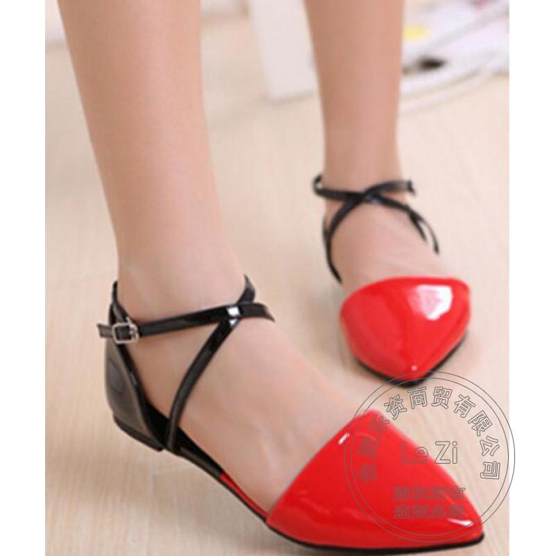 Ferret Cross Strap Sandals Japanned Leather Ankle Strap Pink font b Women b font Summer Shoes