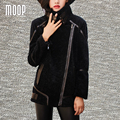 Couro genuíno preto emendados casacos de inverno para as mulheres shearling revestimentos da motocicleta jaqueta de couro de pele de carneiro tosquiado LT1064