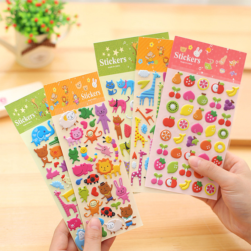 3sheet/lot 3D Puffy Bubble Sticker Sheets Lsables And Tex Boxes Car Stickers And Decals Cartoon Animal Fruit Laptop Sticker