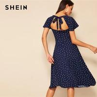 SHEIN с принтом в виде сердца, рукав-бабочка, вырез сзади, платье для женщин 2019, темно-синяя линия, летняя с высокой талией, квадратный вырез, эле...