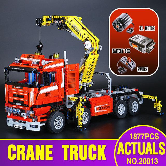 Lepin 20013 1877 unids Genuino Nueva Técnica Último Mecánica Serie de La Grúa Eléctrica Camión Conjunto de Bloques de Construcción Ladrillos Juguetes 8258