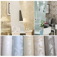 Luxury Flock Non Woven Glitter Metallic Classic Silver Damask Wallpaper Design Modern Textured Wallcoverings Vintage Wall