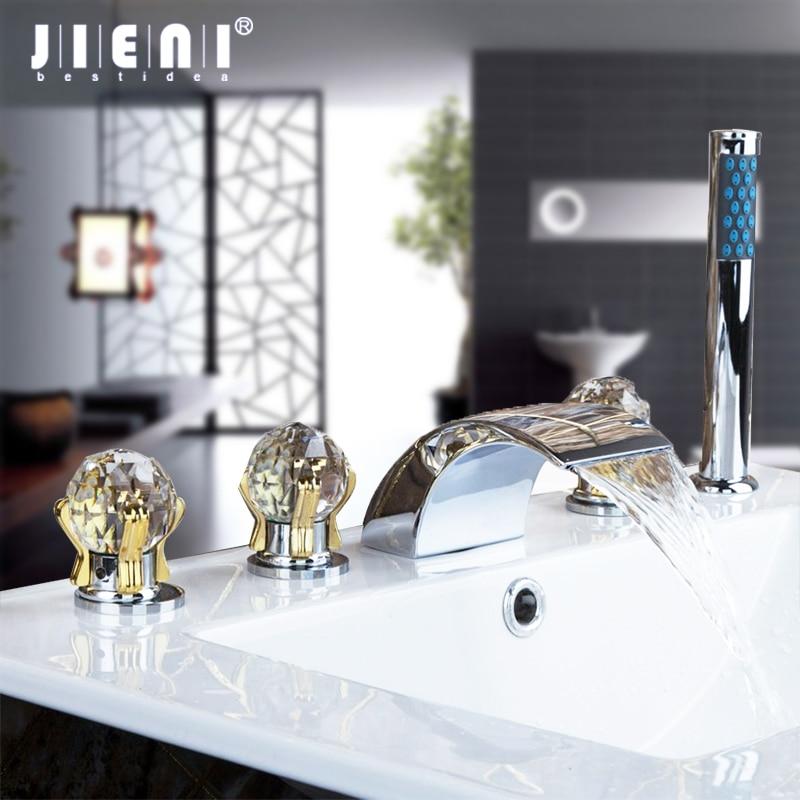 JIENI Chrome Solid Brass 5 Pcs Set Waterfall Spout Deck Mounted Diamond Handles Hand Sprayer Bathroom