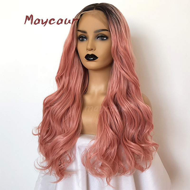 Active Ombre Pink Long Wavy Synthetic Lace Front Wig Heat Resistant Natural Hair Wigs For Women 180 Density Buy One Give One