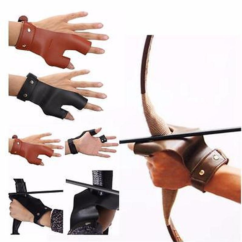 Leather Left Hand Archery Arrow Bow Hunting Shooting Protective Finger Protector Guard Two Fingers Protect Glove