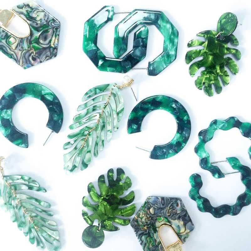 ZA 2019, хит, акриловые, полимерные, зеленые листья, висячие серьги для женщин, модные, Черепаховые, геометрические, ацетатные, вечерние, ювелирные изделия, Brincos