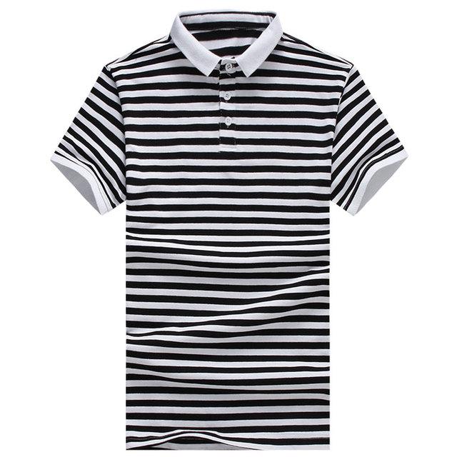 Polo de hombre caliente de la venta 2016 moda de nueva marca diseñador del Mens Slim Fit manga corta a rayas Polo Homme de gran tamaño a 5XL