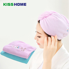 2 Colors Chemicel Fiber Solid Quickly Dry Hair Hat Womens Girls Ladies Animal Cap Bath Accessories Drying Towel Head Wrap Hat 1 pc hair drying cap lovely solid color quickly dry hair hat