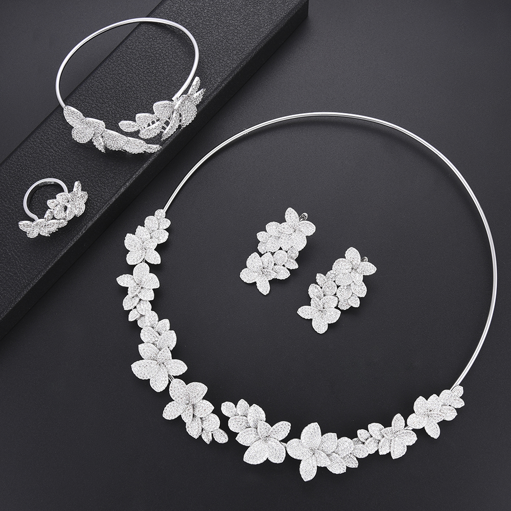 4 PCS Flower Cubic Zirconia bridal wedding jewelry african Dubai jewelry set Necklace Earrings Bangle Ring For Women Party4 PCS Flower Cubic Zirconia bridal wedding jewelry african Dubai jewelry set Necklace Earrings Bangle Ring For Women Party