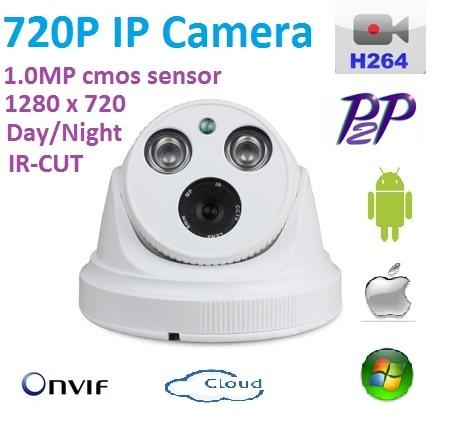 New type 1280*720P 1.0MP Mini Dome 720P IP Camera ONVIF H.264 P2P Indoor network camera IR CUT Night Vision Easy Plug and Play, фотообои komar world map flags 2 54х1 84 м 4 055