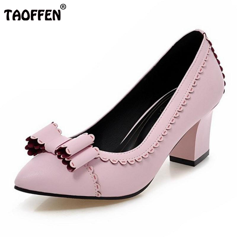 TAOFFEN Plus Size 31-48 Women Pointed Toe High Heels Shoes Women'S Bowknot Square Heel Pumps Ladies Slip On Party Daily Footwear new 2017 spring summer women shoes pointed toe high quality brand fashion womens flats ladies plus size 41 sweet flock t179