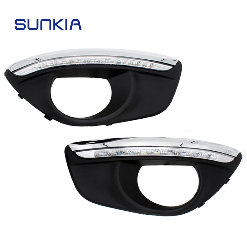 SUNKIA Dimming Style Relay 12V Car LED DRL Daytime Running Lights with Fog Lamp Hole for Hyundai Santa Fe 2010 2011 2012