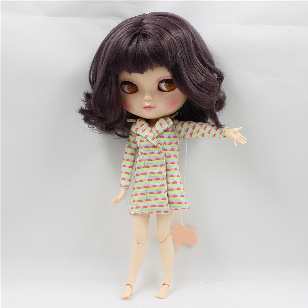 Neo Blythe Doll with Brown Hair, White Skin, Shiny Face & Jointed Azone Body 2