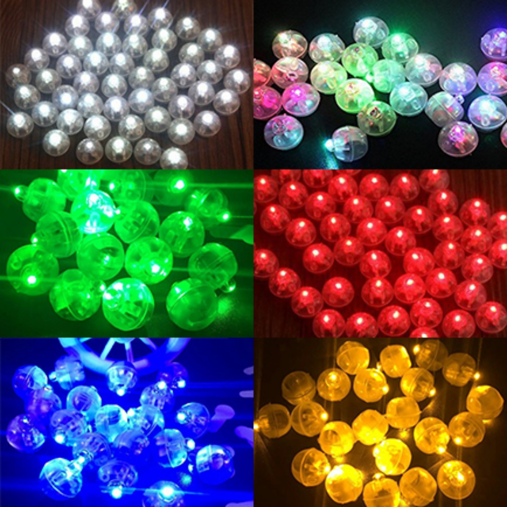 New Lovely Home Decor 50Pcs/lot Round Ball Led Balloon Lights Mini Flash Lamps for Lantern Christmas Wedding Party Decoration